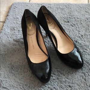 Vince Camuto black leather and suede heel